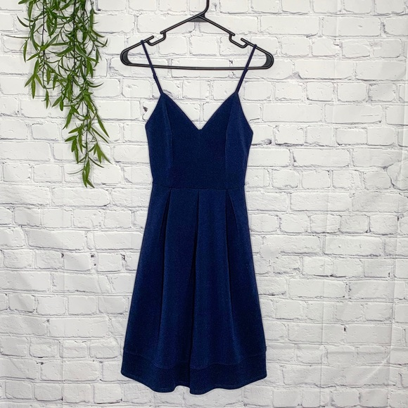 Modcloth Dresses & Skirts - Fervour ModCloth fit and flare navy dress XS